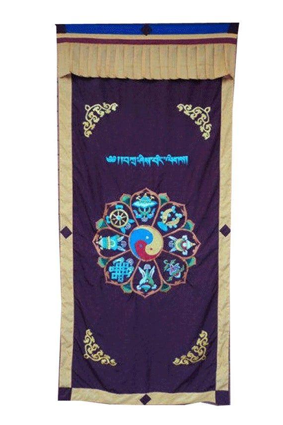 Maroon Eight Auspicious Symbol Combined Spunsilk Door Curtain NEPAL