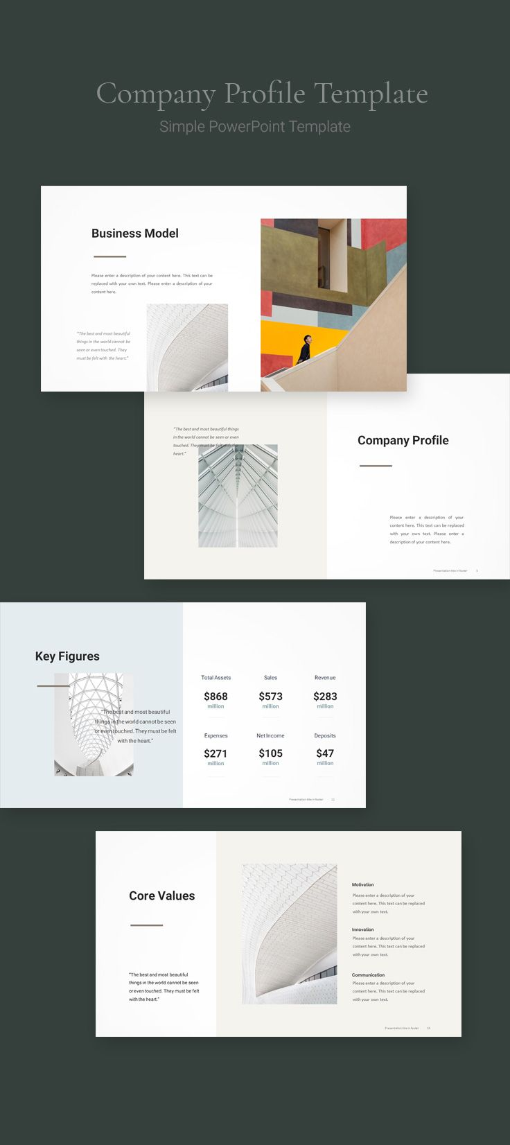 Simple Business Strategy Template Download Powerpoint Company Profile Design Company Profile Template Brochure Design Layouts