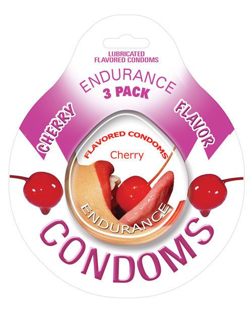 Endurance Flavored Condom - Cherry Pack of 3 #ENDURANCE