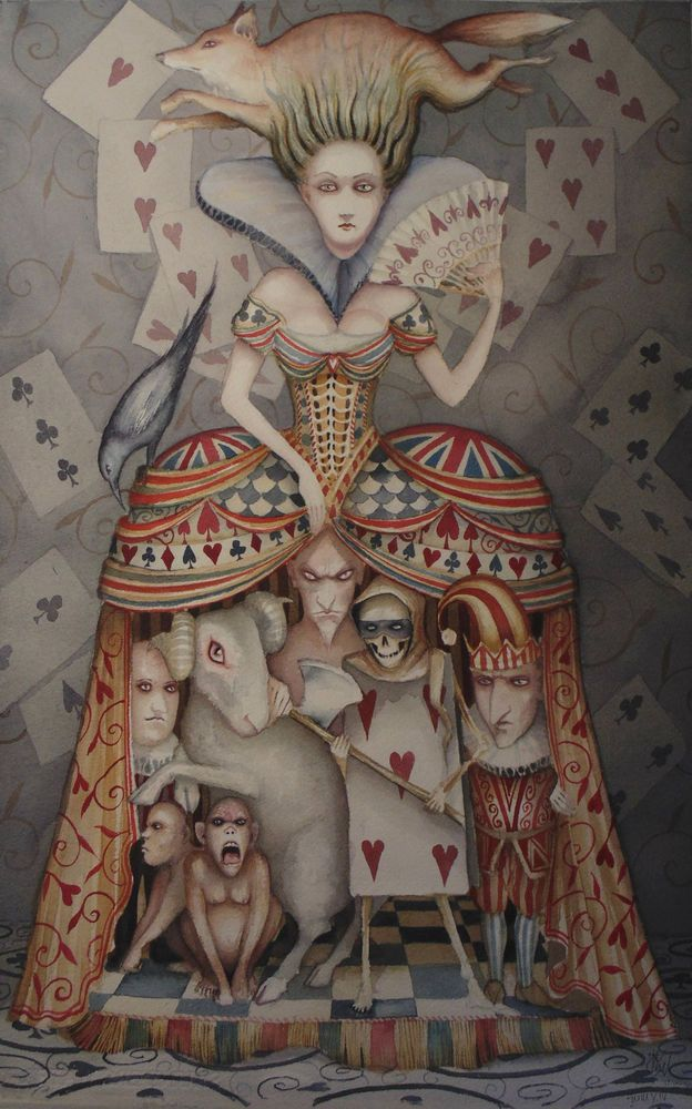 Alice In Wonderland Art Original Painting The Queen of Hearts Dominic Murphy