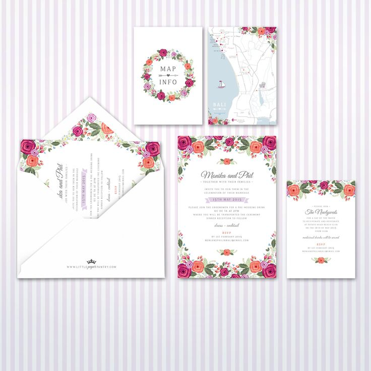 Mexican inspired A5 wedding invitations with bright floral pattern design. Custom map designed of Ku De Ta, Bali.