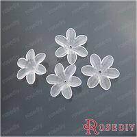 ( 14248 ) ювелирные изделия бусины о выводах 26 мм дым белый акриловые цветы 120 г, Около 200 шт.