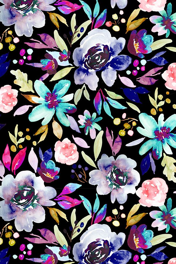 Berry Rose Black by indybloomdesign - Hand painted florals on a black background with bold neon shades.