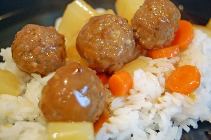Sweet and Sour Meatballs Over Rice. Mark loved it. I wasn't a fan of ...
