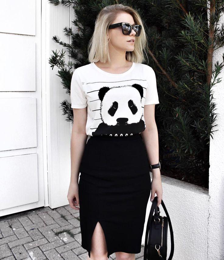 t-shirt + saia lápis .