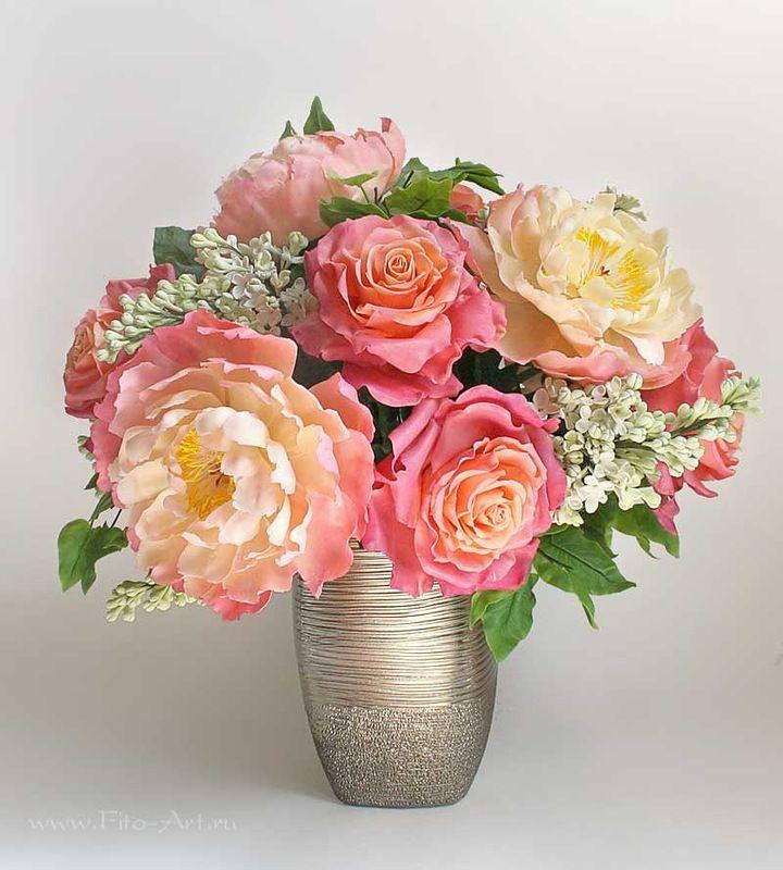Цветы ручной работы - Букет Майский с пионами, розами и сиренью