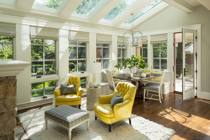 Transitional Sunroom by Martha O'Hara Interiors