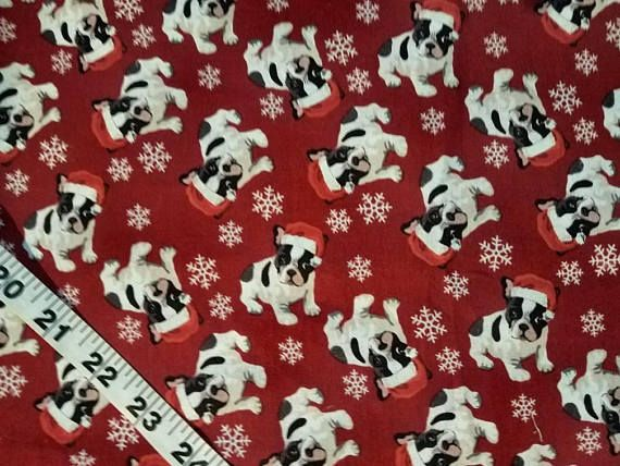 A nice Christmas quilt fabric print with Boston Terrier puppy dogs dressed in their Santa hats. 100% Cotton sewing and quilting material to sew for crafting projects. By the yard. Bty. Remember, in my shop for every 5 yds you purchase, you can pick out a 6th on me of equal or