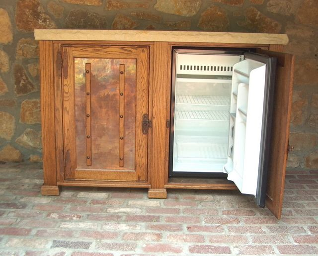 Matukewicz Furniture, TV Lift Cabinets, TV Lifts, TV Lift Furniture, Custom TV Lift Cabinet, Best TV Lift » Outdoor Oak Refrigertor Buffet Cabinet $6,995