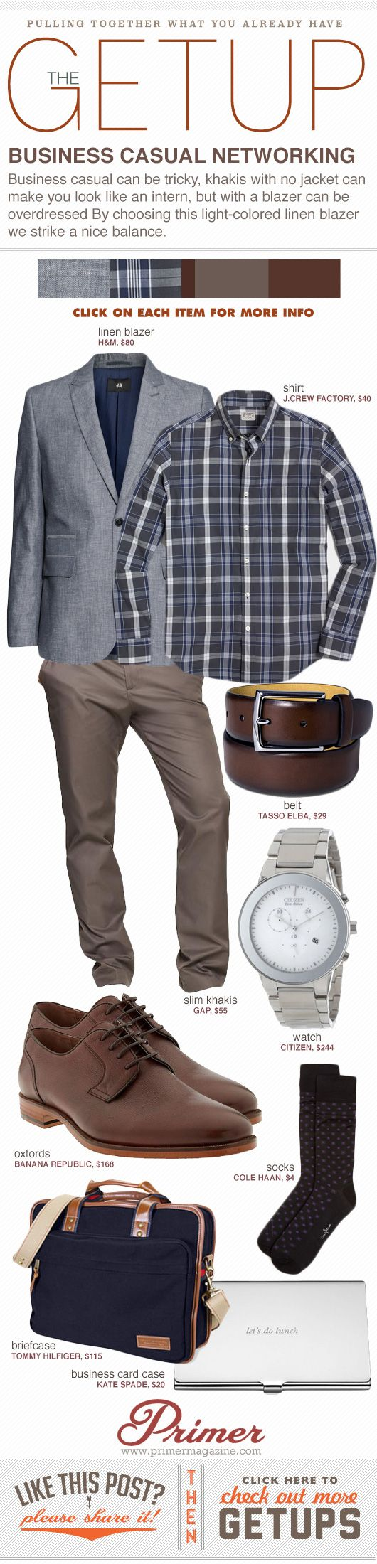 Business casual can be tricky, khakis with no jacket can make you look like an intern, but with a blazer can be overdressed By choosing this light-colored linen blazer we strike a nice balance.