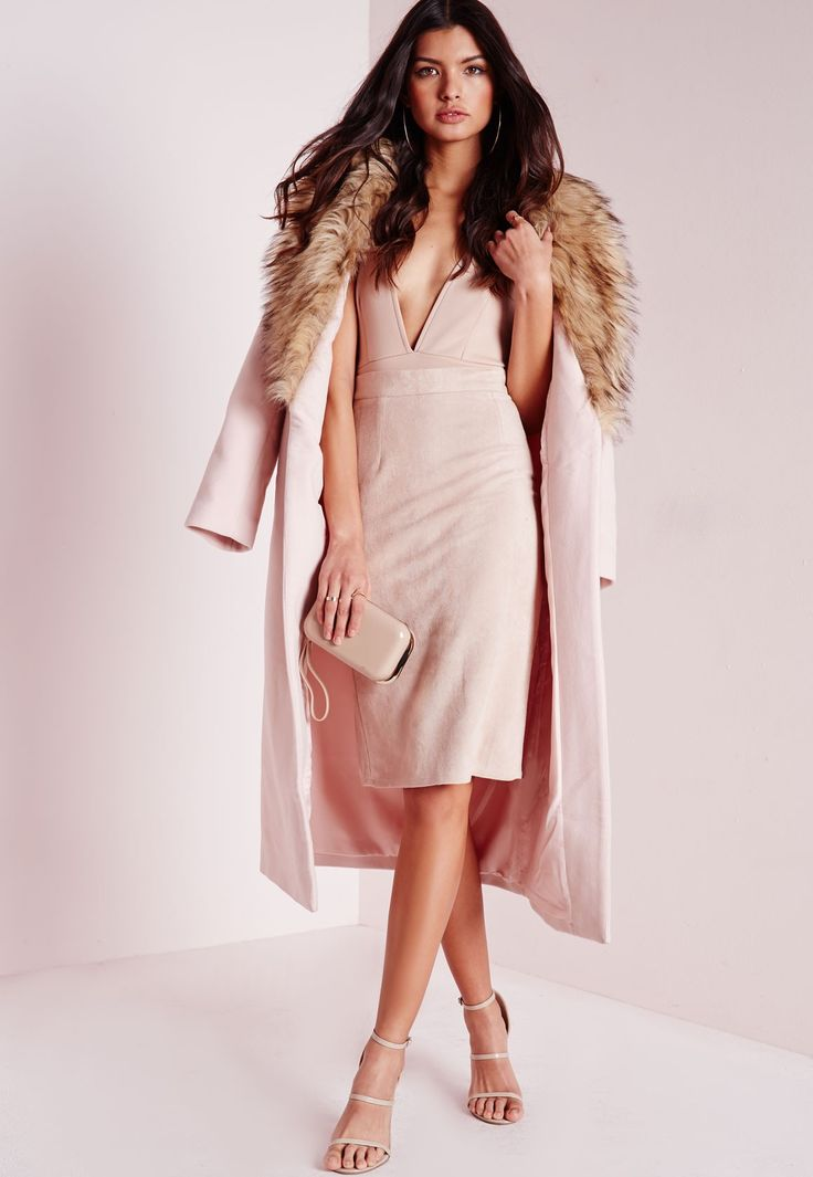 Missguided - Longline Wool Coat with Faux Fur Collar Blush Pink