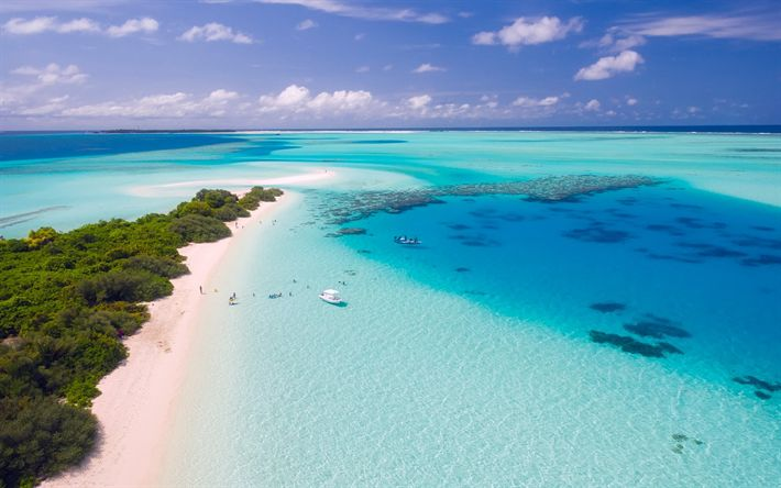 Download wallpapers Maldives, Indian Ocean, summer, coast, beach, paradise