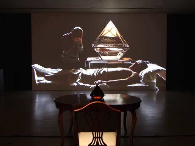 Installation view of Tyler Tekatch's video Terrors of the Breakfast Table, at Ottawa Art Gallery. (Handout photo)