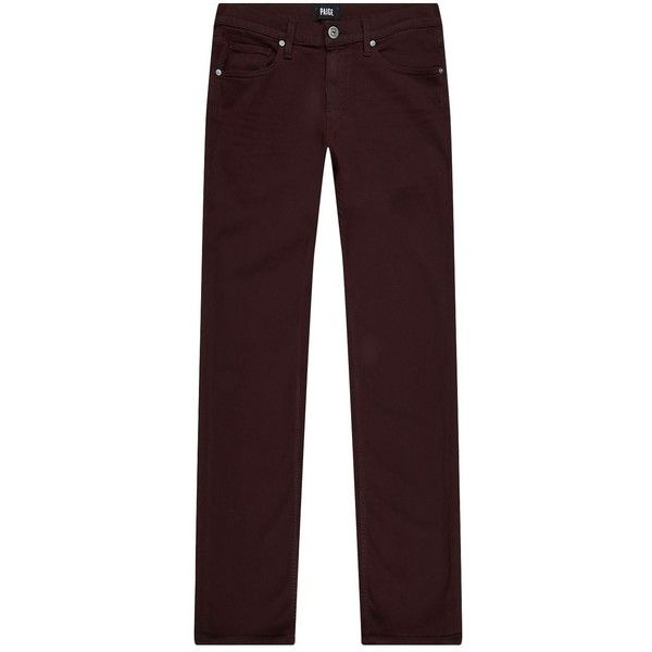 Paige Denim Federal Slim Jeans ($345) ❤ liked on Polyvore featuring men's fashion, men's clothing, men's jeans, mens slim jeans, mens slim fit jeans, mens cuffed jeans, mens burgundy jeans and mens stretch denim jeans