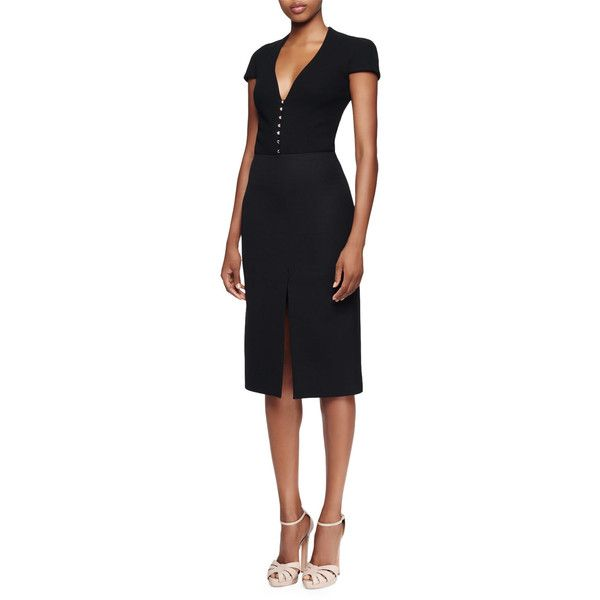 Alexander Mcqueen Cap-Sleeve Deep-V-Neck Dress ($996) ❤ liked on Polyvore featuring dresses, black, straight dresses, alexander mcqueen, slimming dresses, plunge dress and lined dress