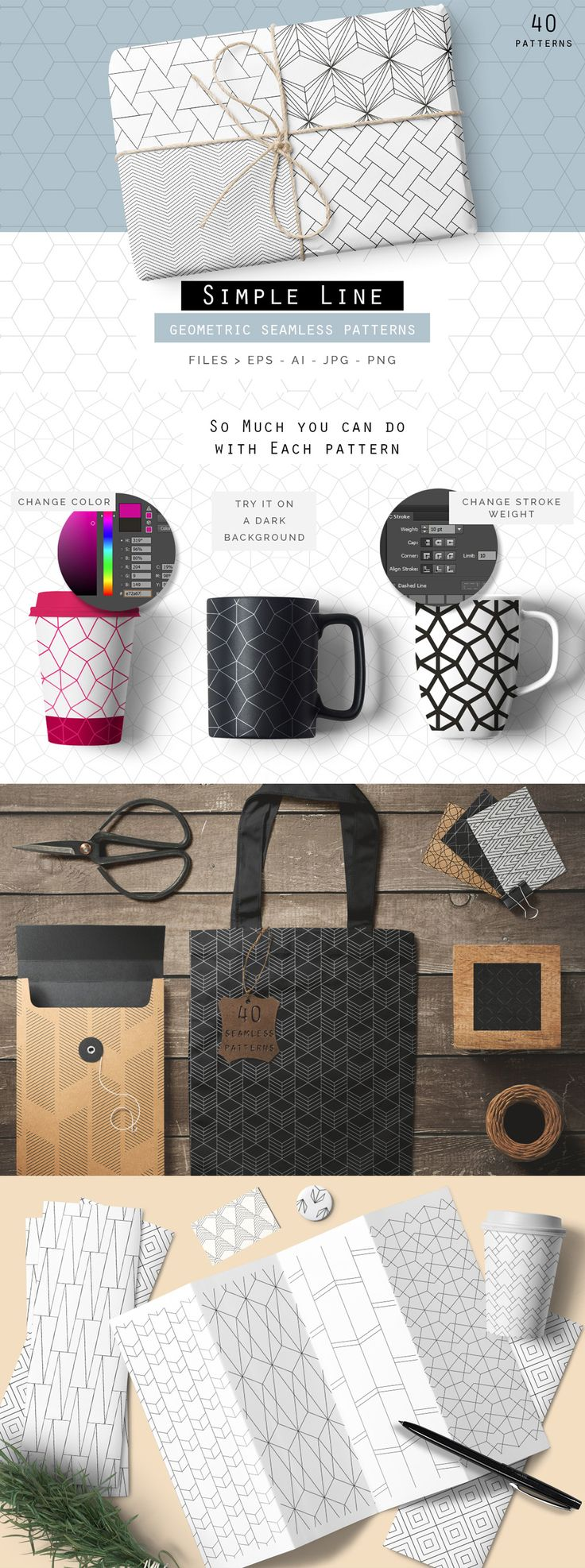 Simple Line #Geometric seamless #Patterns Collection