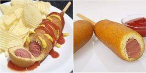 O Corn Dog é uma salsicha envolvida em uma massa deliciosa feita com farinha de milho. As crianças vão adorar e você pode fazê-lo para festas ou para o lan