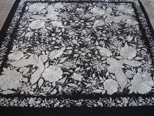 canton silk shawl with butterflies