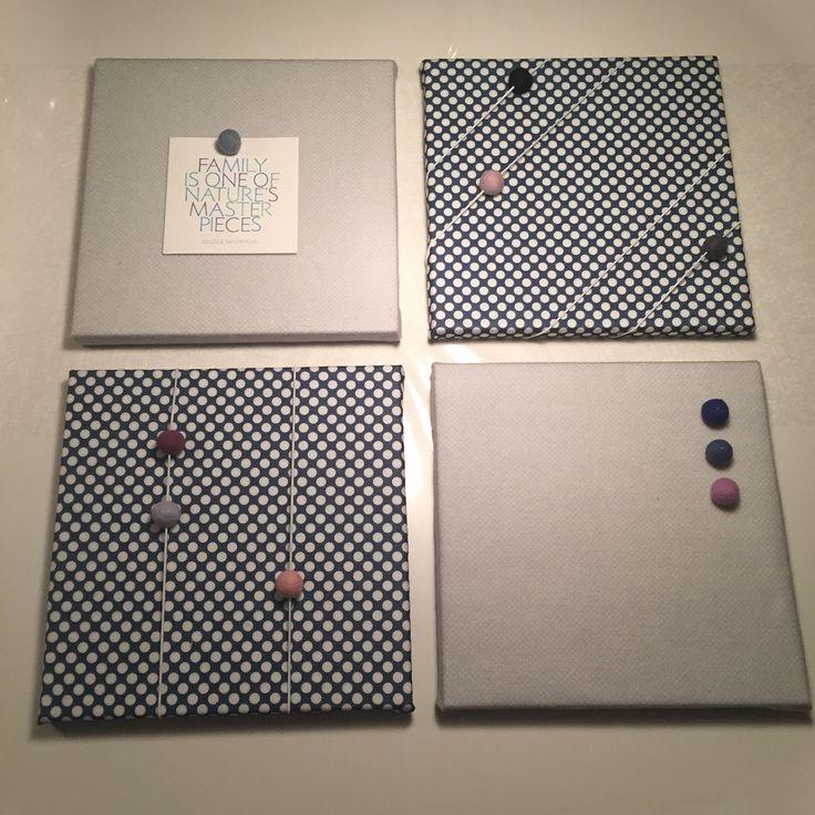 Projekt gør-det-selv opslagstavle med lærreder fra søstrene grene betrukket med stof, elastikker og filtkugler ✔️