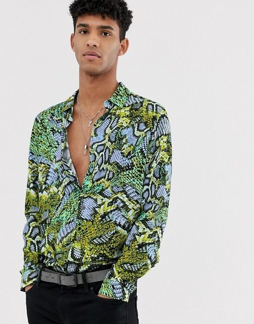 3e2a0734921 DESIGN regular fit snake skin shirt in neon green in 2019 | asos men ...