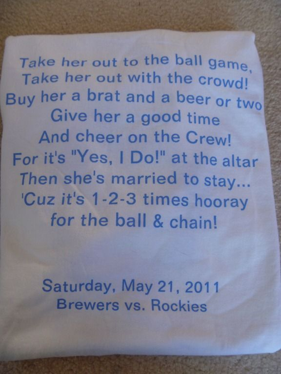 I love this and would so use it for my bachelorette party t shirt if i was a big baseball fan!