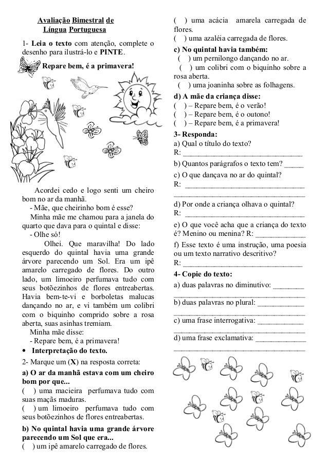Avaliação Bimestral de                 ( ) uma acácia amarela carregada de     Língua Portuguesa                     flore...