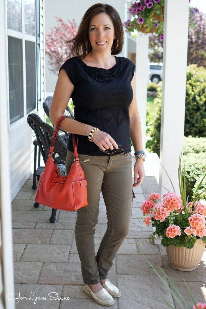 Fashion for Women Over 40 Outfit Inspiration: Black and Olive   Keep this classic color combination current by adding a pop of color in your accessories and wearing shoes in a metallic or a shade of nude.