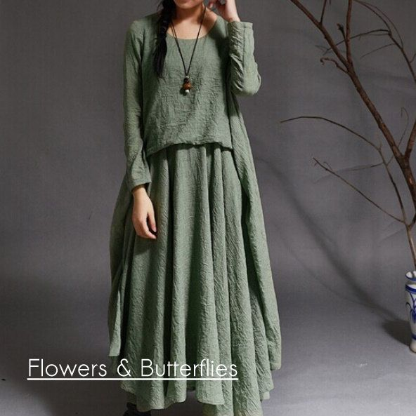 WORLDWIDE FREE SHIPPING Women Cotton Linen Dress 4 Colors 3 Sizes Summer Dress Pure Color Long Maxi Natural Lagenlook Boho Loose Summer by FlowersButterflies15 on Etsy
