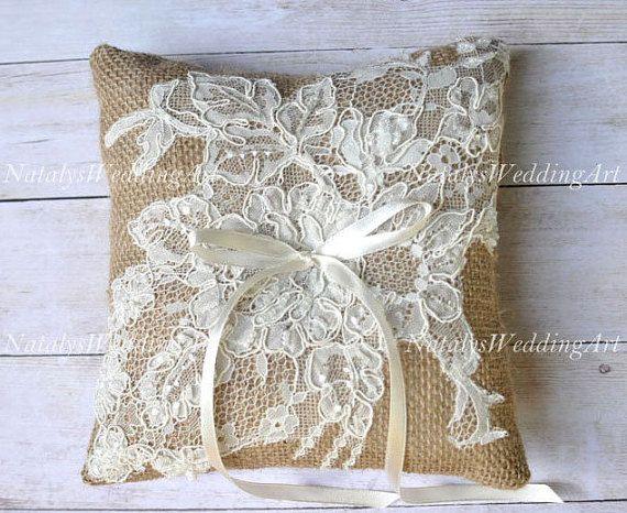 Lace Burlap Ring pillow Lace rustic burlap ring cushion by NatalysWeddingArt