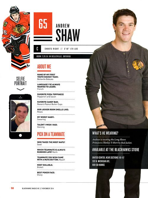 65 // ANDREW SHAW -  Blackhawks Magazine surveys 2014-15