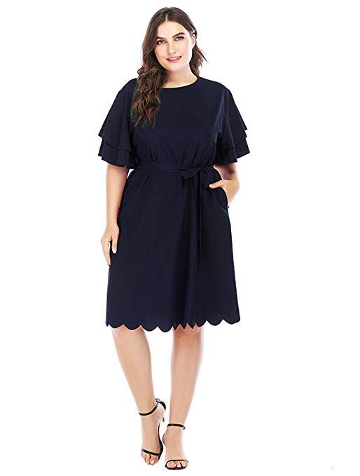 c69c9025057 GMHO Women s Plus Size O Neck Short Sleeve Fit Party Elegant Formal Knee-Length  Summer