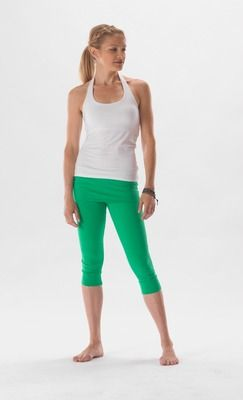 Kelly crop yoga pant - Black - $84.95 - Fold over waistband to enhance and flatter the waist at a length that suits you. Ribbed below the knee, this leg lengthening and rear end enhancing crop yoga pants are more than you could ask for. #fireandshine #yoga #fashion #ethical #hyde