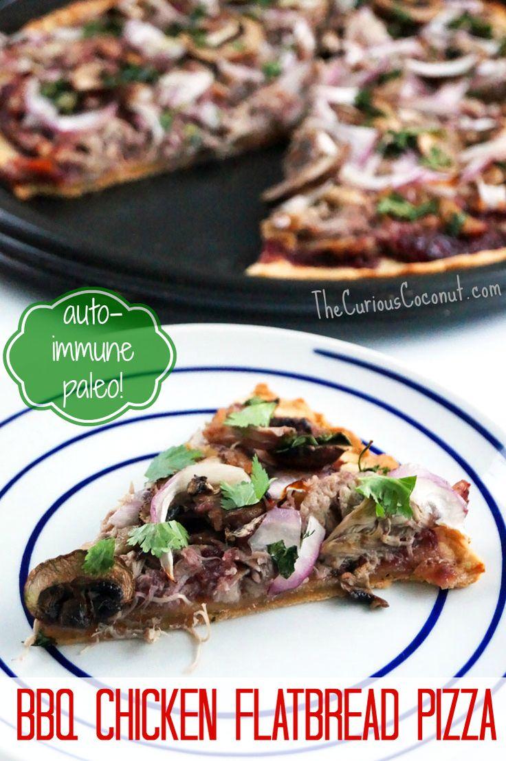 Autoimmune Paleo BBQ Chicken Flatbread Pizza // TheCuriousCoconut.com #aip #paleo Coconut flour crust