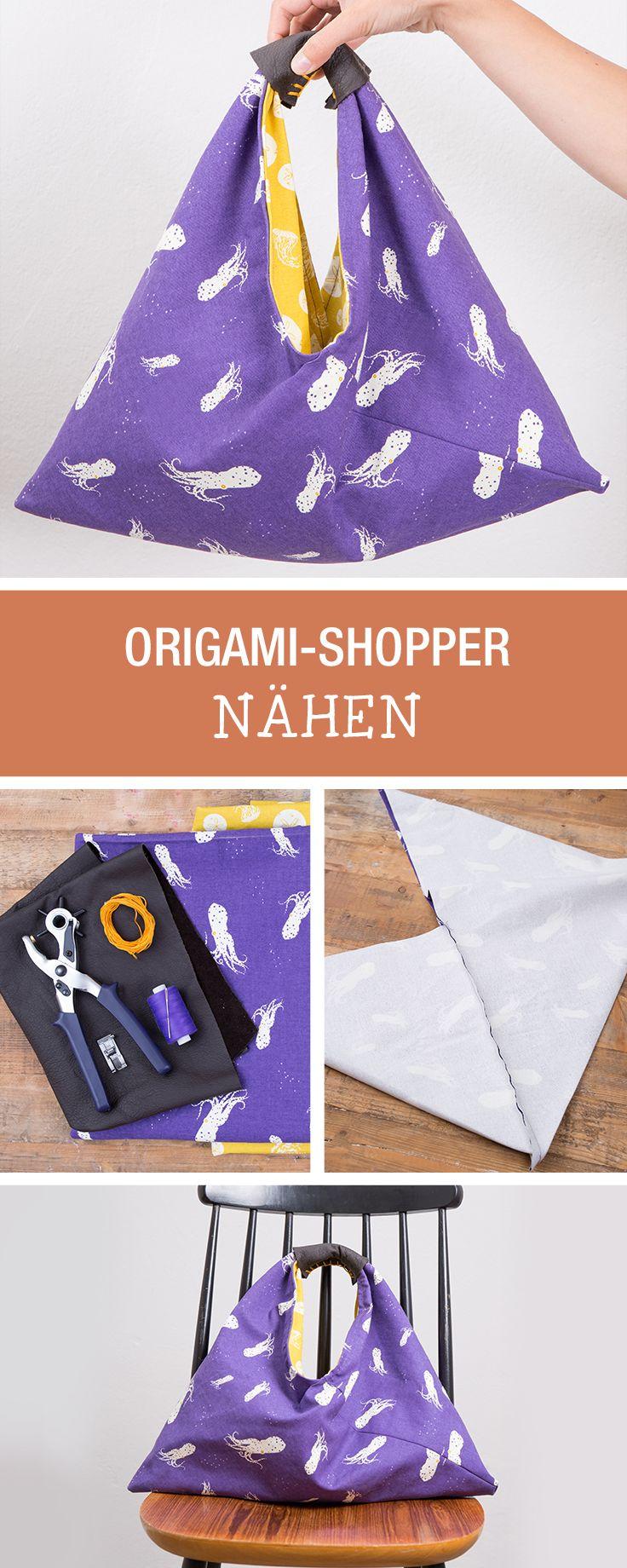 Nähanleitung für eine Wendetasche, Taschen selbernähen / sewing tutorial: orgiami shopper bag via DaWanda.com