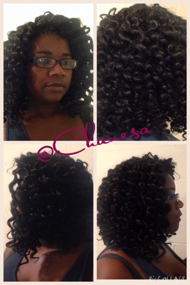 Crochet Hair Designs : Crochet braids. Hollywood Yaky hair was set on flexi rods to achieve ...