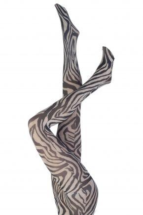 Silky Signature Zebra Animal Print Tights In Black and White  £5.00