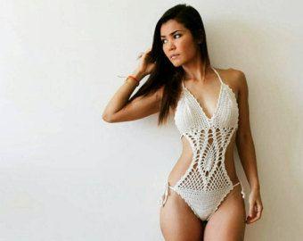 Model Agrigento crochet monokini skirt 5 long in by Pomcloset