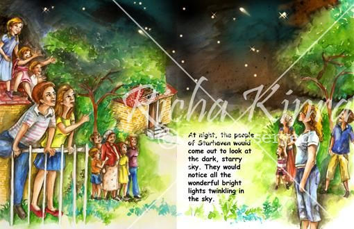 This is a scene from a children book and all the characters are out in the night gazing at the sky to see some activity which is taking place. Its not an unusual activity , they are looking at the sky where the starts are twinkling. Everyone is enjoying the night and people from all age are standing , right from kids to their parents. The illustration is done using water color and good use of background has been made to give it depth.