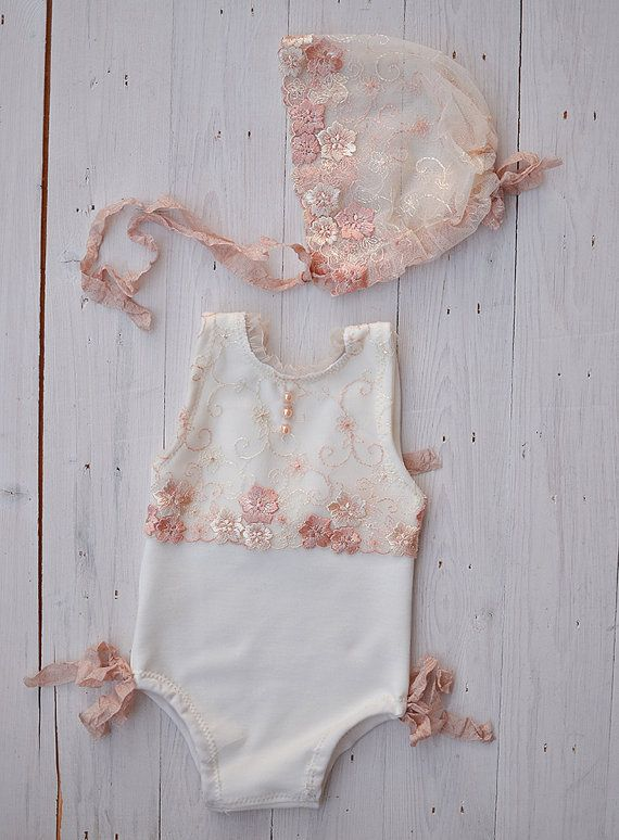 Newborn Photo Prop Girl Romper Lace Romper Bonnet by HazyMoonProps