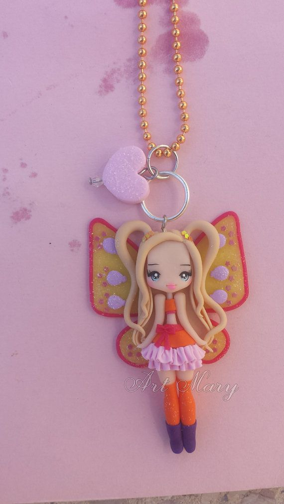 Necklace stella winx in fimo polymer clay by Artmary2 on Etsy
