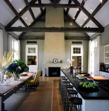 Kitchen/great room!: Dreams Kitchens, Barns Kitchens, Barefoot Contessa, Long Island, High Ceilings, Ina Garten, Long Tables, Dining Tables, Garten Kitchens