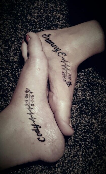 Me and my best friends new ink we just got in honor of her brother and my grandmother that just passed..#RIP  Memorial foot tattoo girls
