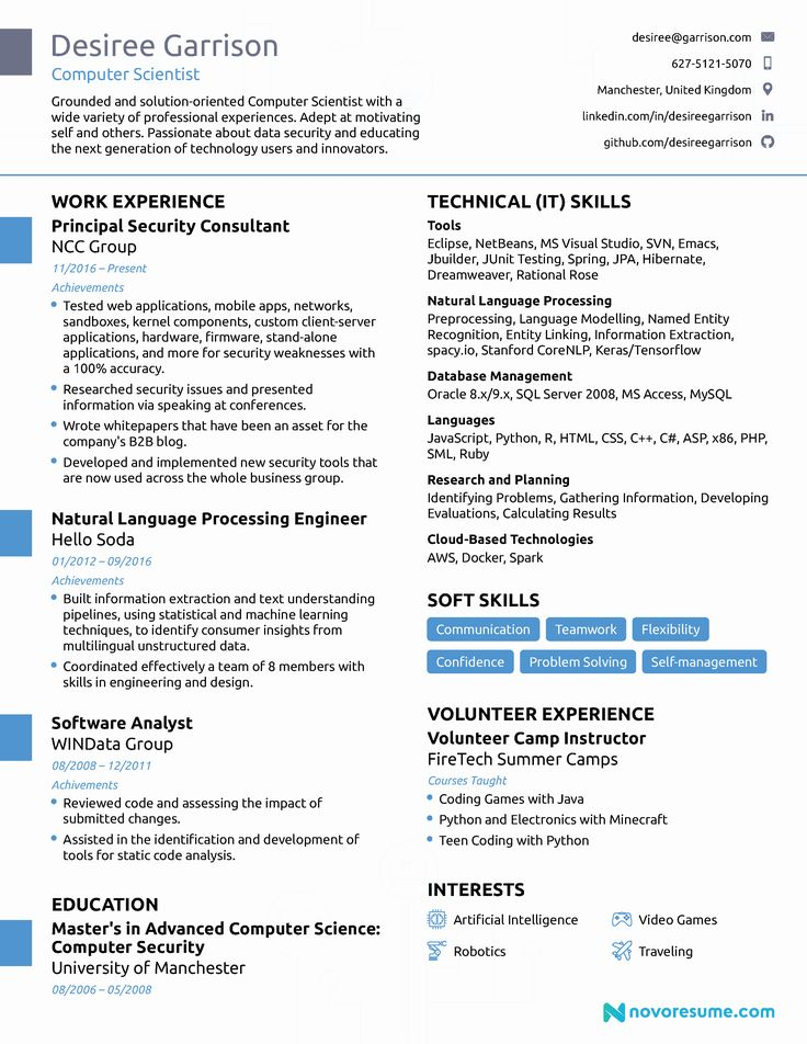 25 Best Computer Science Resume in 2020 Computer skills