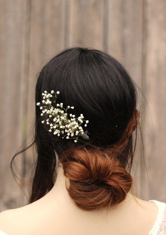 147598a234e53 Wedding Hair Baby Breath Hair Pins Bridal Hair Pins Dried Flower ...