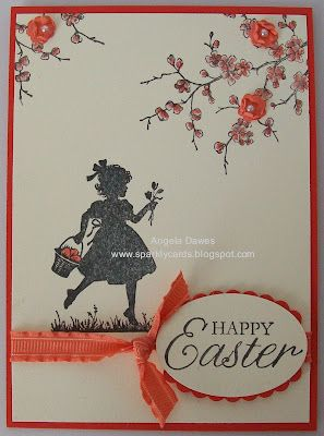 Happy Easter Stampin' Up! Card...love the little girl silhouette. Could be a little girl's birthday card.