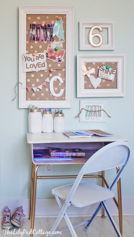 love the cork boards in the white frames as well as the simplicity of the desk. #DecorbyMe @ForRent.com