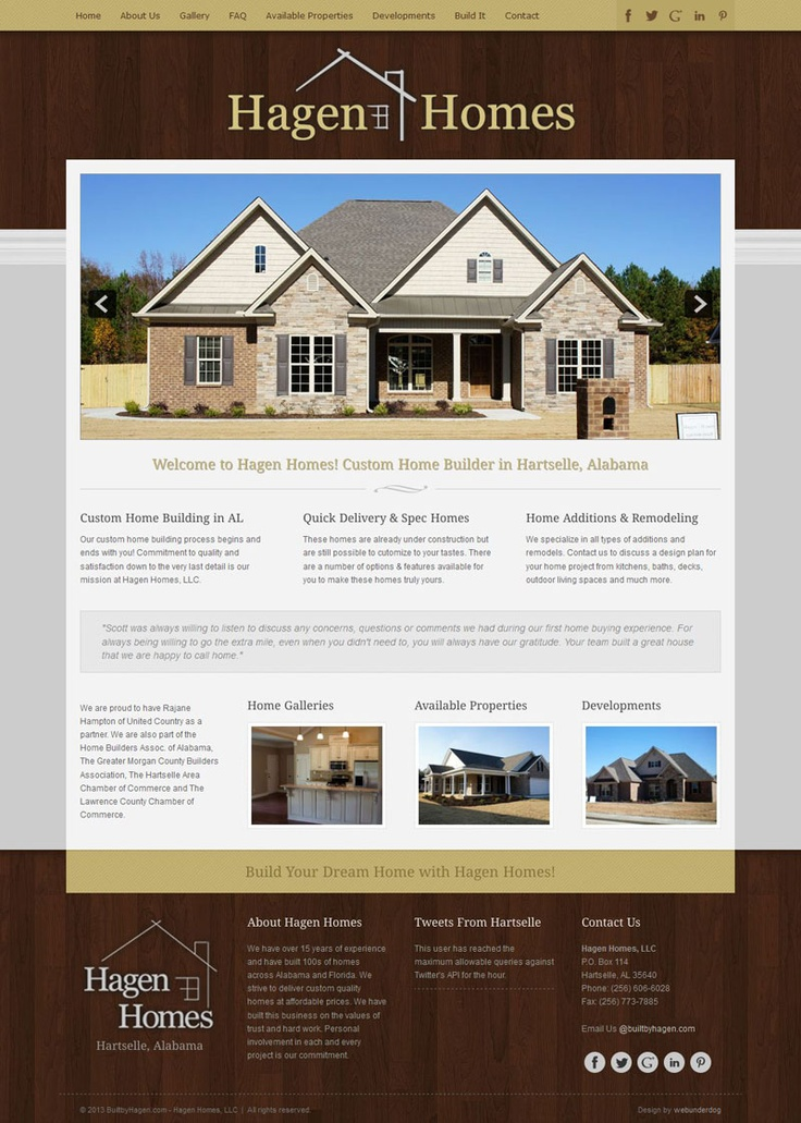 Custom #Joomla Template #webdesign for Hagen Homes, LLC. in Hartselle, AL. Hagen Homes is a custom home builder and renovation construction company.