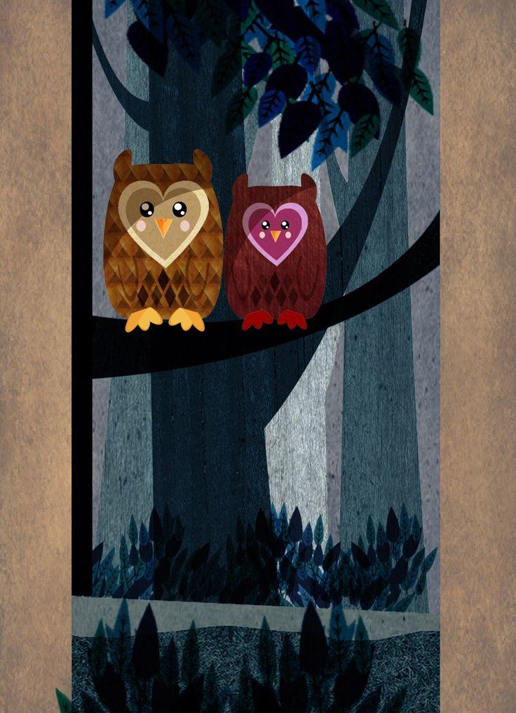 """Owl Wood""  I love creating retro style vector art."
