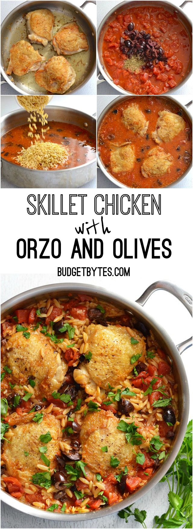 Skillet Chicken with Orzo and Olives simmers together in one skillet for maximum flavor and minimum cleanup. Step by step photos. @budgetbytes