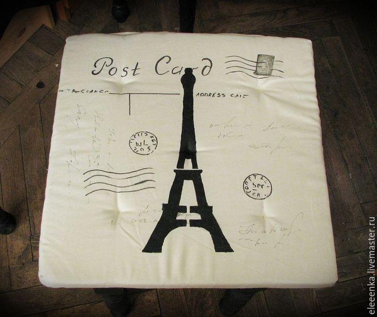 Купить Подушка для табурета - черно-белый, чехол на табурет, сидушка на стул, подушка на стул